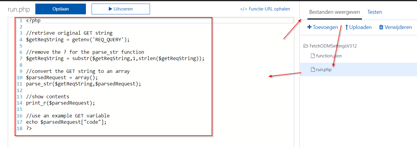 Parsing a GET request in PHP with an Azure Function